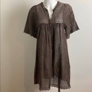 Elie tahari linen eyelit beach coverup dress